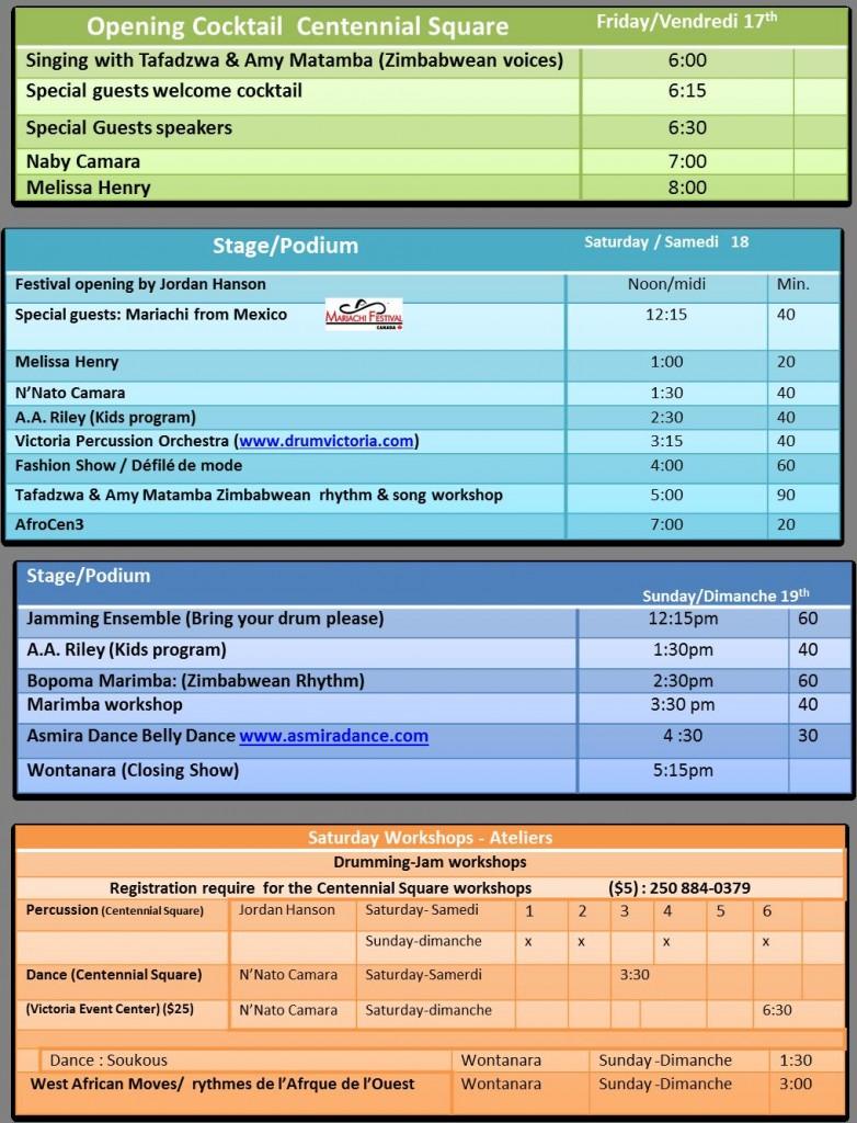 AfriCa Fest schedule