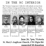 The Wanted Composers Tour. Victoria Composers Collective tours BC interior June 28-July 9 2015